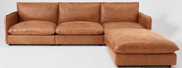 Neva Modular Leather Chaise Sectional - Sixpenny