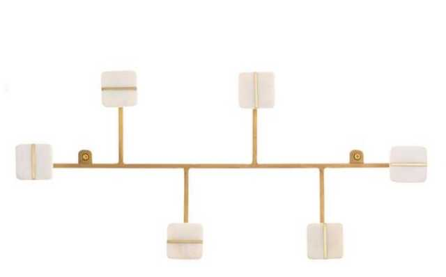 Marble And Gold Metal Asymmetrical 6 Hook Wall Rack - World Market/Cost Plus