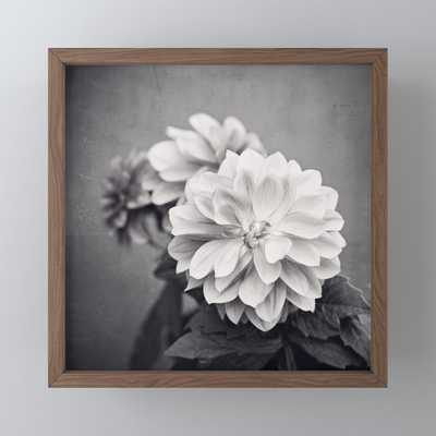 57 Black and White Dahlia Flower Photography, Grey Floral, Gray Neutral Nature Petals Framed Mini Art Print - Society6