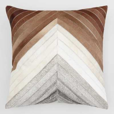 """Chevron Patchwork Leather Hide Throw Pillow: Brown - 20"""" Square by World Market - World Market/Cost Plus"""