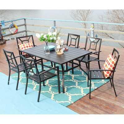 "Phivilla 7 Piece Metal Outdoor Patio Dining Bistro Sets With Umbrella Hole - 60.2"" X 37.8"" Rectangle Patio Table And 6 Backyard Garden Outdoor Chairs, Black - Wayfair"