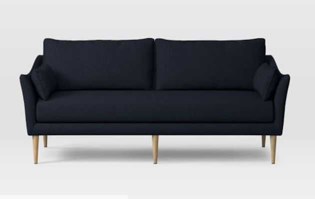 "Antwerp 76"" Sofa, Twill, Black Indigo, Almond, - West Elm"