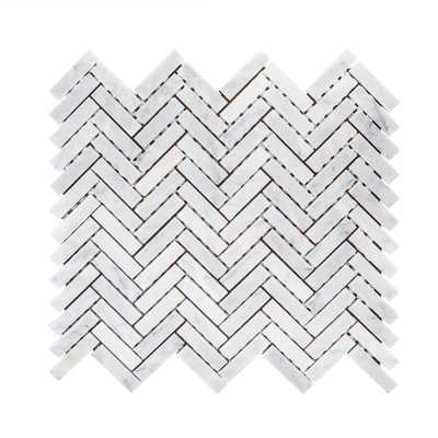 Jet Stream White 10.125 in. x 11.125 in. Herringbone Honed Marble Floor and Wall Mosaic Tile (0.782 sq. ft./Each) - Home Depot