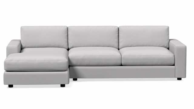 "Urban Set 2: Right Arm 66.5""Sofa, Left Arm Chaise, Chenille Tweed, Frost Gray, Poly Fill - West Elm"