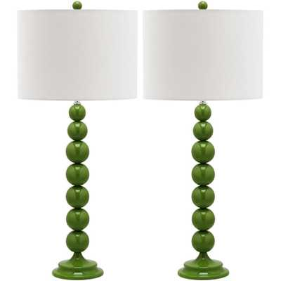 Safavieh Jenna 31 in. Fern Green Stacked Ball Lamp (Set of 2) - Home Depot