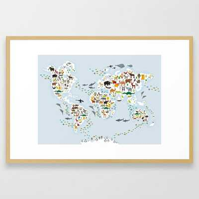 Cartoon animal world map for children and kids, Animals from all over the world, back to school Framed Art Print - Society6