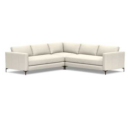 Jake Leather 3-Piece L-Shaped Corner Sectional, Down Blend Cushions, Signature Chalk - Pottery Barn