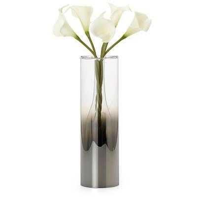 "Smoke Mirror Glass Droplet 12""h Cylinder Vase - Burke Decor"