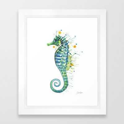 """Seahorse: Green, Vector White Frame, 10""""x12"""" - Society6"""