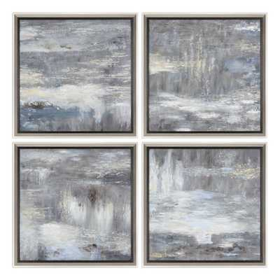 SHADES OF GRAY HAND PAINTED CANVASES, Set of 4 - Hudsonhill Foundry