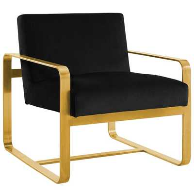 ASTUTE UPHOLSTERED VELVET ARMCHAIR IN BLACK - Modway Furniture