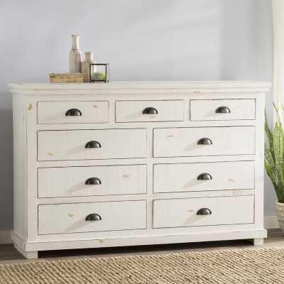 Castagnier 9 Drawer Dresser, Distressed White - Birch Lane
