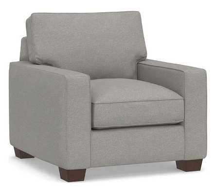 PB Comfort Square Arm Upholstered Recliner, Memory Foam Cushions, Performance Heathered Basketweave Platinum - Pottery Barn