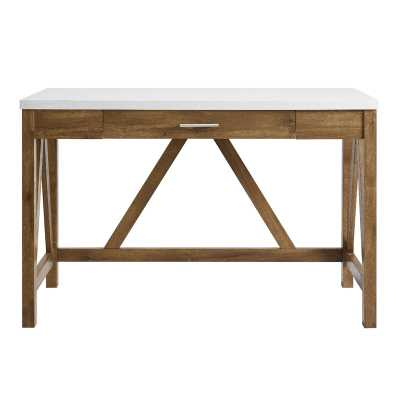 Ocilla Desk / White Marble Top/ Natural Walnut Base - Wayfair