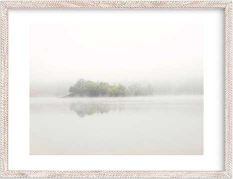 "the island - 18"" x 24"" - Whitewashed Herringbone Frame- White Border - Minted"