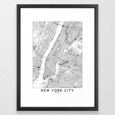 New York City White Map Framed Art Print - Society6
