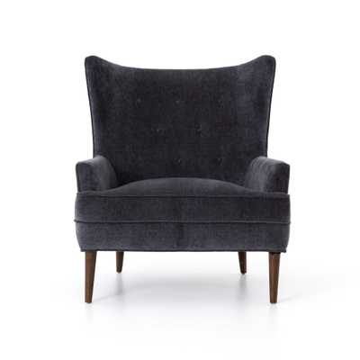 Clermont Chair in Charcoal Worn Velvet - Burke Decor