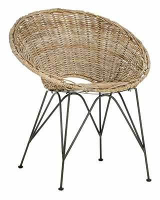 Sierra Rattan Accent Chair - Grey Wash/Dark Steel - Arlo Home - Arlo Home