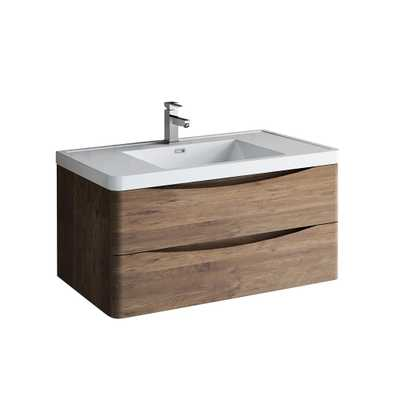 Tuscany 40 in. Modern Wall Hung Vanity in Rosewood with Vanity Top in White with White Basin - Home Depot