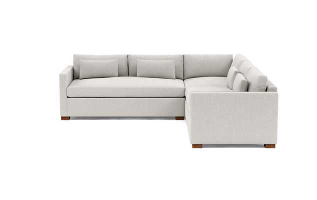 CHARLY Corner Sectional Sofa, Wheat Cross Weave with Oiled Walnut Block Leg - Interior Define