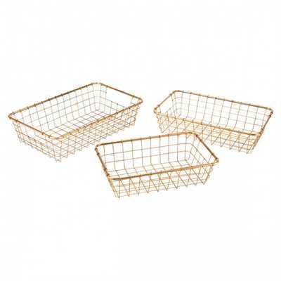 Set Of 3 Baskets Gold - Zuri Studios
