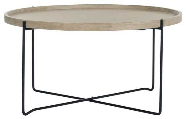 Auden Retro Mid Century Wood Accent Table - Light Oak/Black - Arlo Home - Arlo Home