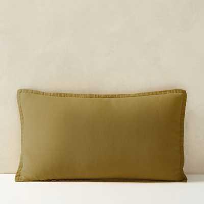 """Belgian Flax Linen Lumbar Pillow Cover, Vintage Rose, Fiber Dye, 12""""x21"""" - West Elm"""