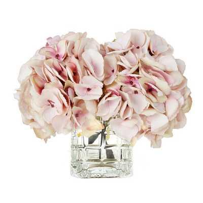 Soft Hydrangea Floral Arrangement in Vase - Birch Lane