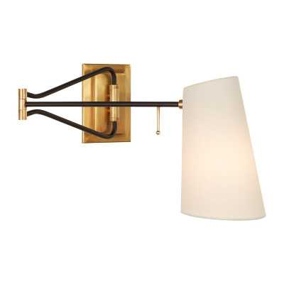 KEIL SWING ARM WALL LIGHT - HAND-RUBBED ANTIQUE BRASS & BLACK - McGee & Co.