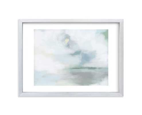 """Monday Blues Framed Wall Art - 7"""" X 5"""" - White Border Brushed Silver Frame - Minted"""
