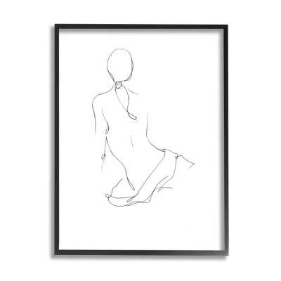Female Figure Pose Back Linework Minimal Design by Ethan Harper - Painting Print - Wayfair