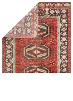 """Miner Medallion Red/ Yellow Runner Rug (2'6""""X8') - Collective Weavers"""