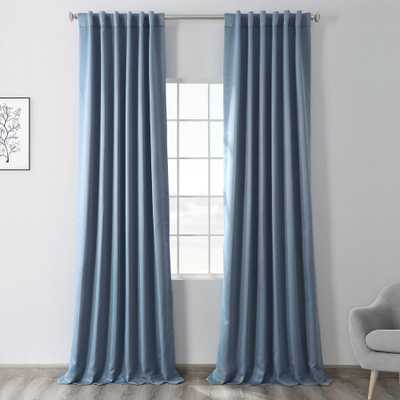 Exclusive Fabrics & Furnishings Semi-Opaque Poseidon Blue Blackout Curtain - 50 in. W x 96 in. L (Panel) - Home Depot