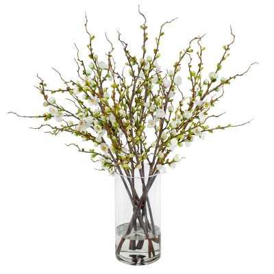 Peach Blossom Branches Floral Arrangement in Glass Cylinder Vase - Wayfair