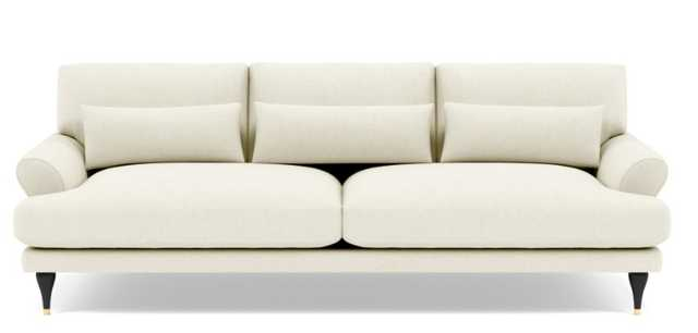 Maxwell Sofa with White Ivory Fabric and Matte Black with Brass Cap - Stiletto Leg - Interior Define