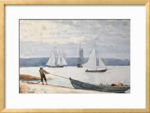 Pulling the Dory, 1880 - 24x18 Framed (Ramino Gold) with Mat - art.com
