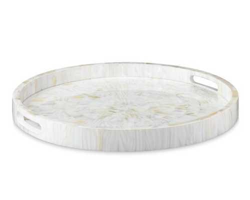 "Round Kabibe Shell Tray, Small, White / 18 1/4"" Dia - Williams Sonoma Home"
