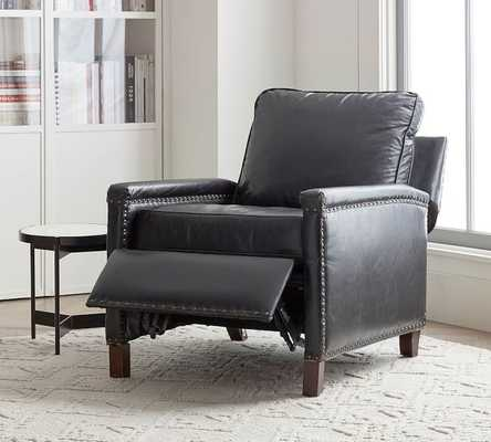 Tyler Leather Square Arm Recliner With Nailheads - Pottery Barn