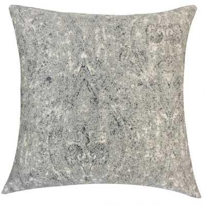 "Vachel Graphic Pillow Pewter-20"" x 20""- Down insert - Linen & Seam"