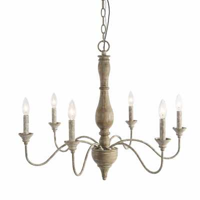 Tacoma 6 - Light Candle Style Classic / Traditional Chandelier with Wood Accents - Wayfair