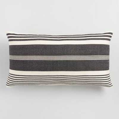 Oversized Black & White Striped Indoor Outdoor Lumbar Pillow - World Market/Cost Plus