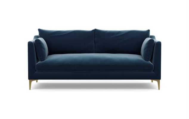 CAITLIN BY THE EVERYGIRL Fabric Sofa - Sapphire Mod Velvet - Brass plated Sloan leg - Interior Define