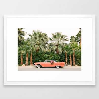 "Palm Springs Pink Vintage Car Framed Art Print 26""x38"" Vector White Frame - Society6"