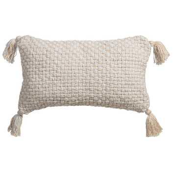Aritizia Outdoor Lumbar Throw Pillow with Corner Embellishments - Home Depot