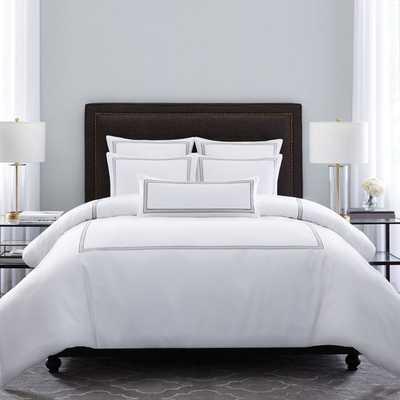 Wamsutta® Hotel Triple Baratta Stitch King Comforter Set in Silver - Bed Bath & Beyond