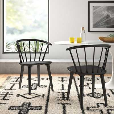 Ginny Solid Wood Dining Chair in Black (Set of 2) - AllModern