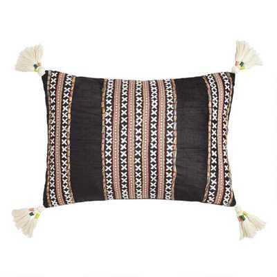 Black Velvet Embroidered Nora Lumbar Pillow - World Market/Cost Plus