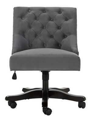 Soho Tufted Velvet Swivel Desk Chair - Grey - Arlo Home - Arlo Home