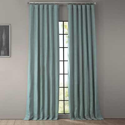 Clem Faux Linen Blackout Rod Pocket Single Curtain Panel - Sea Thistle - Wayfair