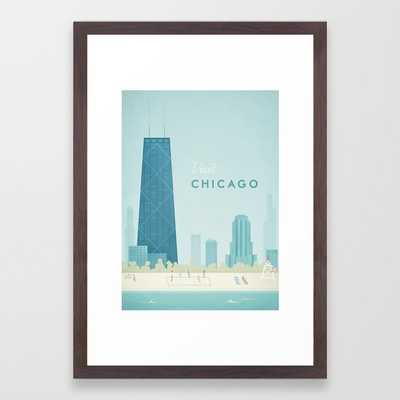 Vintage Chicago Travel Poster Framed Art Print - Society6